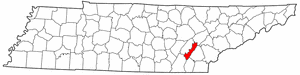 Tennessee Map showing Meigs County