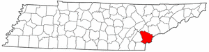 Tennessee Map showing Monroe County
