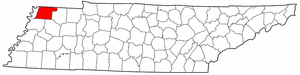 Tennessee Map showing Obion County