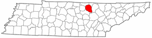 Tennessee Map showing Overton County