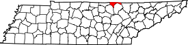 Tennessee Map showing Pickett County