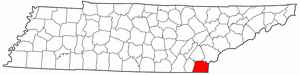 Tennessee Map showing Polk County