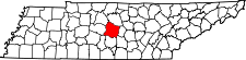 Tennessee Map showing Rutherford County