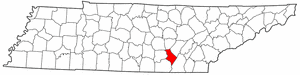 Tennessee Map showing Sequatchie County