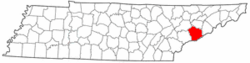 Tennessee Map showing Sevier County