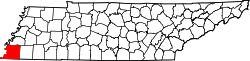 Tennessee Map showing Shelby County