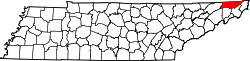 Tennessee Map showing Sullivan County