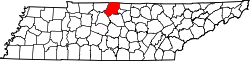 Tennessee Map showing Sumner County