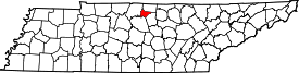 Tennessee Map showing Trousdale County