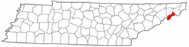 Tennessee Map showing Unicoi County