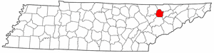 Tennessee Map showing Union County