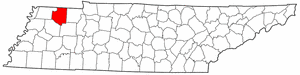 Tennessee Map showing Weakley County