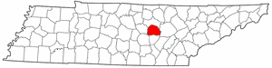 Tennessee Map showing White County