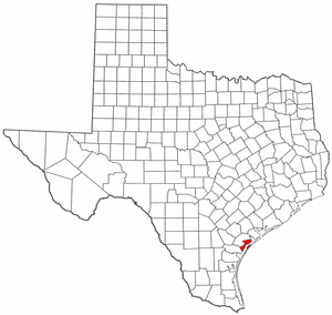Texas Map showing Aransas County