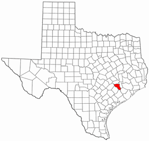Texas Map showing Austin County