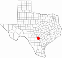 Texas Map showing Bexar County