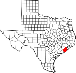 Texas Map showing Brazoria County