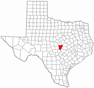 Texas Map showing Burnet County