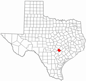 Texas Map showing Caldwell County