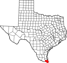 Texas Map showing Cameron County