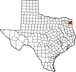 Texas Map showing Cass County