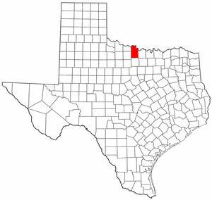 Texas Map showing Clay County