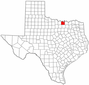 Texas Map showing Cooke County