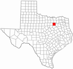 Texas Map showing Dallas County