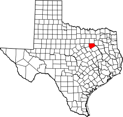 Texas Map showing Ellis County