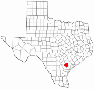 Texas Map showing Goliad County
