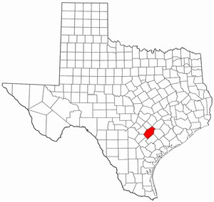 Texas Map showing Gonzales County