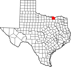 Texas Map showing Grayson County