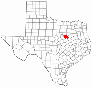 Texas Map showing Hill County