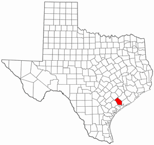 Texas Map showing Jackson County