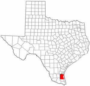 Texas Map showing Kenedy County