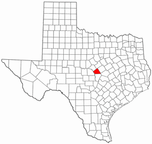 Texas Map showing Lampasas County