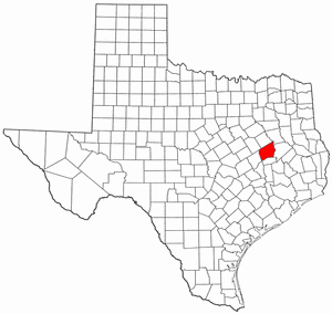 Texas Map showing Leon County