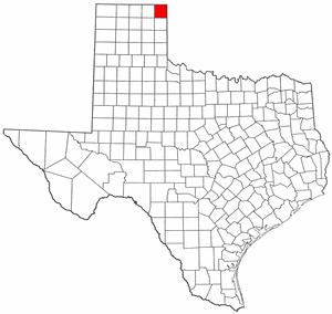 Texas Map showing Lipscomb County