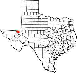 Texas Map showing Loving County