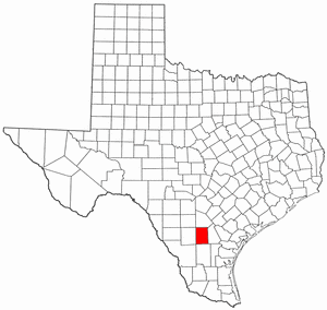 Texas Map showing McMullen County