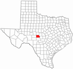 Texas Map showing Menard County