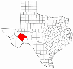 Texas Map showing Pecos County