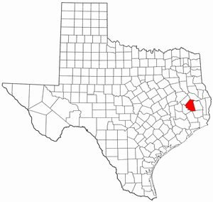 Texas Map showing Polk County
