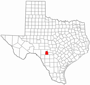 Texas Map showing Real County