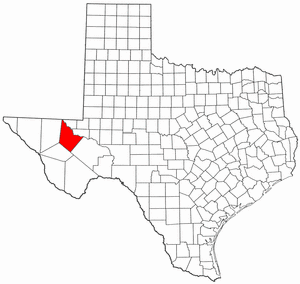 Texas Map showing Reeves County
