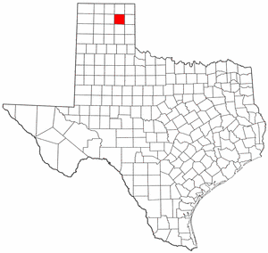 Texas Map showing Roberts County
