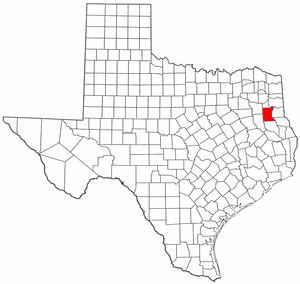 Texas Map showing Rusk County