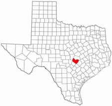 Texas Map showing Travis County