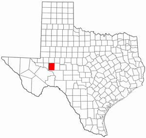Texas Map showing Upton County