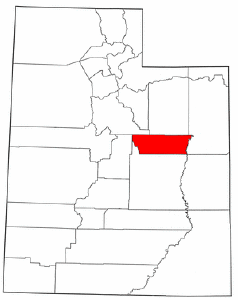 Utah Map showing Carbon County